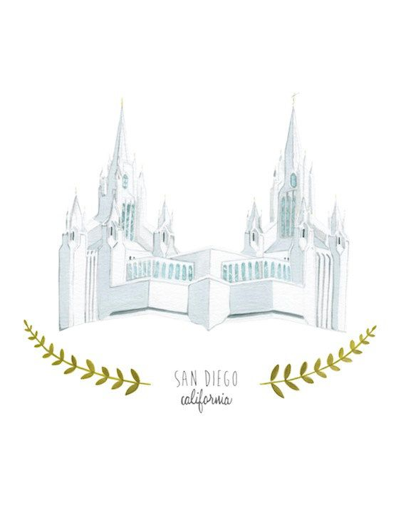San Diego California LDS Temple Illustration - Archival Art Print