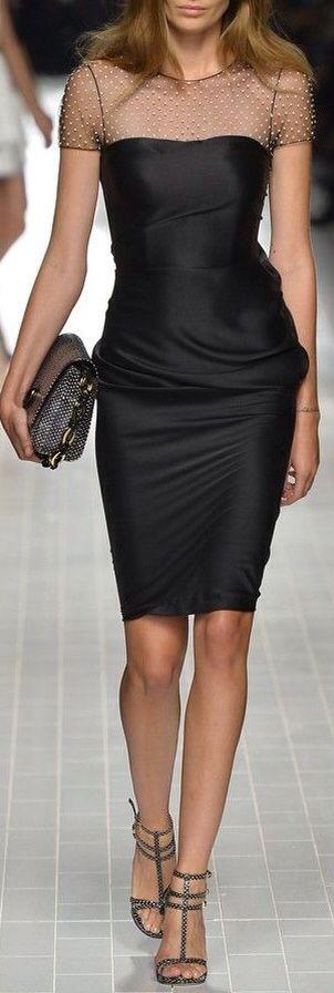 BLUMARINE |= Spring 2014 Sexy classic black dress. Illusion neckline.