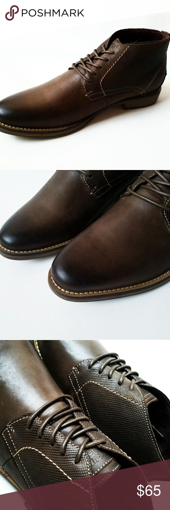 Steve Madden Brown Leather Ankle Bootie - Man Made - Imported - Synthetic sole - Side gore for easy entry Steve Madden Shoes Boots