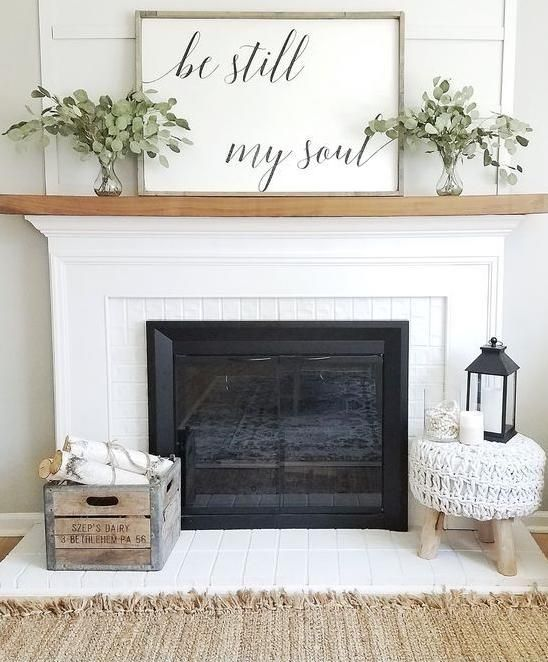 White Fireplace with Contrasting Wood Mantel