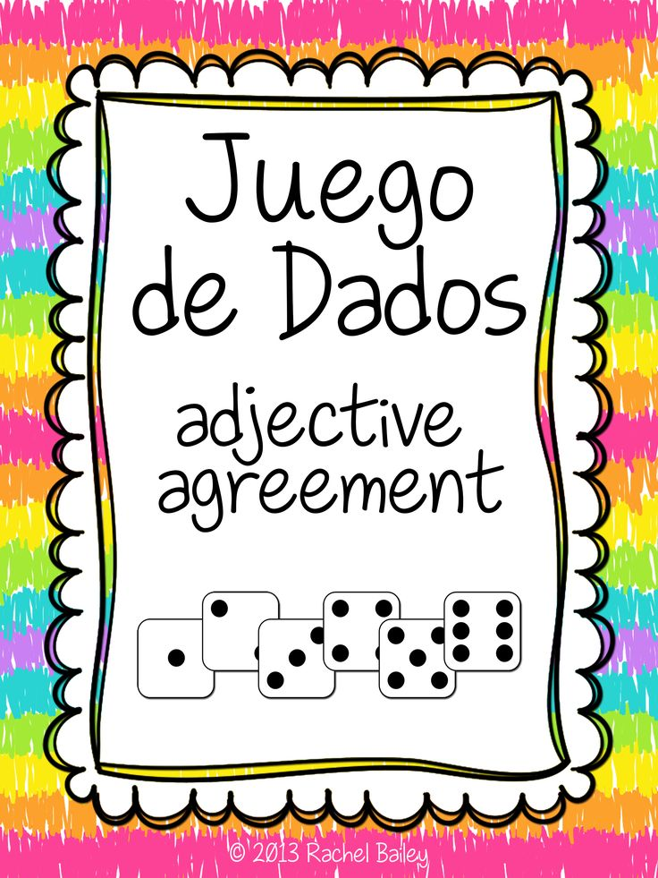 Juego de Dados (dice game) for reinforcing or reviewing adjective agreement in Spanish $