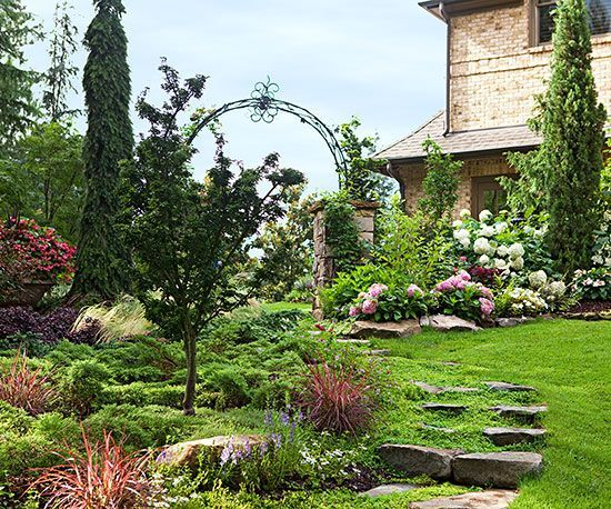 46 best images about gardening on a slope on pinterest for Low maintenance sloping garden ideas