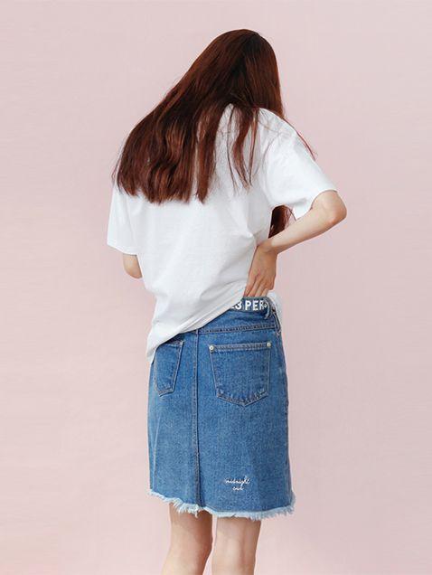 Denim Damege Skirt