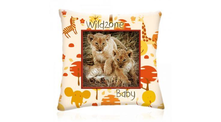 WILD ZONE Baby KIS OROSZLÁNOK állatos díszpárna 28x28 cm, Diszparna.com I Díszpárna webáruház