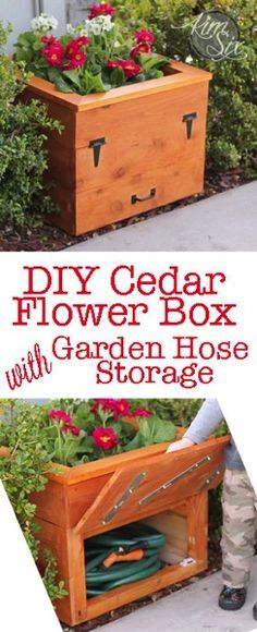 Cedar Planter Box with Hidden Hose Storage: An easy inexpensive DIY project using fence boards. Store your hose out of sight with a hidden compartment below a flowerpot with a false bottom. Such a smart way to hide your garden hose!
