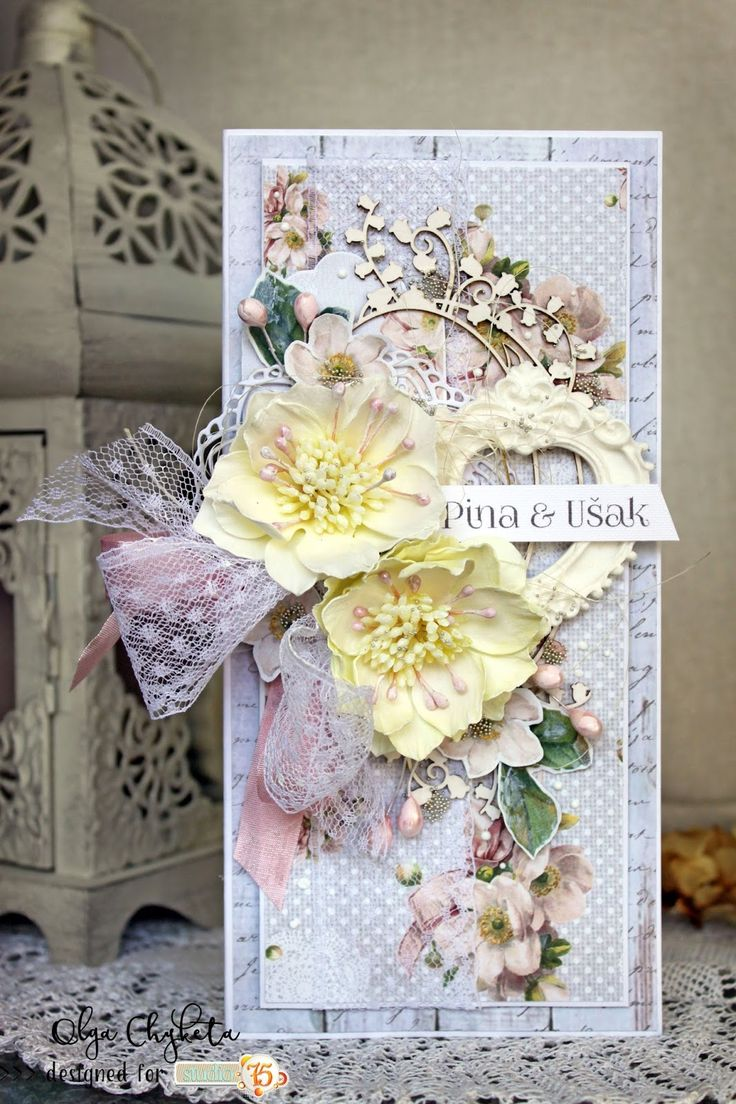 Beautiful multilayered wedding card with Alice's dreams collection.