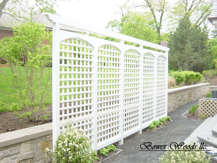 This custom painted trellis helps screen this patio area from next door views.