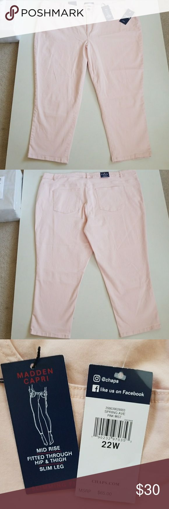 """NWT So Pretty Slimming Fit Denim Capri New so feminine and soft denim capris. Some stretch to material for added comfort. Inseams from crutch to bottom is 23"""". 35"""" top to bottom. 22"""" waist flat. Color is light pink and it's gorgeous! Chaps Jeans"""