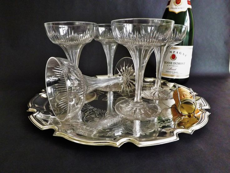 #Champagne #Coupes Saucers, 5 #Crystal Prosecco Glasses, Wedding Toast, Vintage Stemware, Cocktail Glassware, Sparkling Wine Glass Cava by CuriosAnCollectibles on Etsy