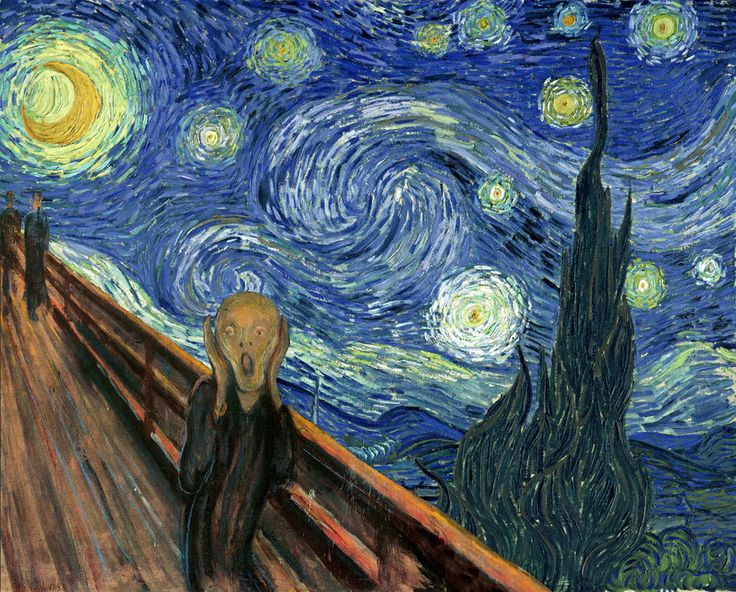 "Parody of ""The Scream"" and ""Starry Night"""