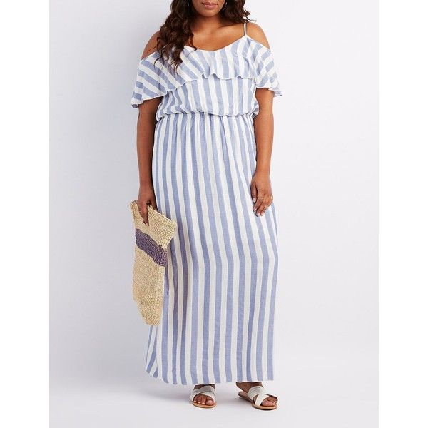 Charlotte Russe Striped Cold Shoulder Maxi Dress ($27) ❤ liked on Polyvore featuring plus size women's fashion, plus size clothing, plus size dresses, multi, white maxi dress, white cold shoulder dress, plus size beach dresses, stripe dress and women plus size dresses