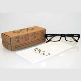 Eco - återvinn dina gamla bågar i den medföljande boxen.