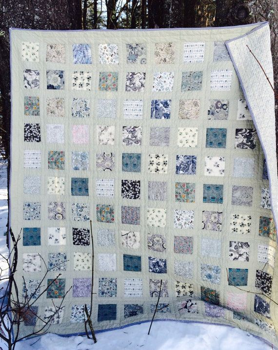 Reserved or Lisa Hand quilted throw quilt lap quilt, Liberty of London Patchwork quilt, Sage, ivory, grey aqua neutral quilt, sofa quilt
