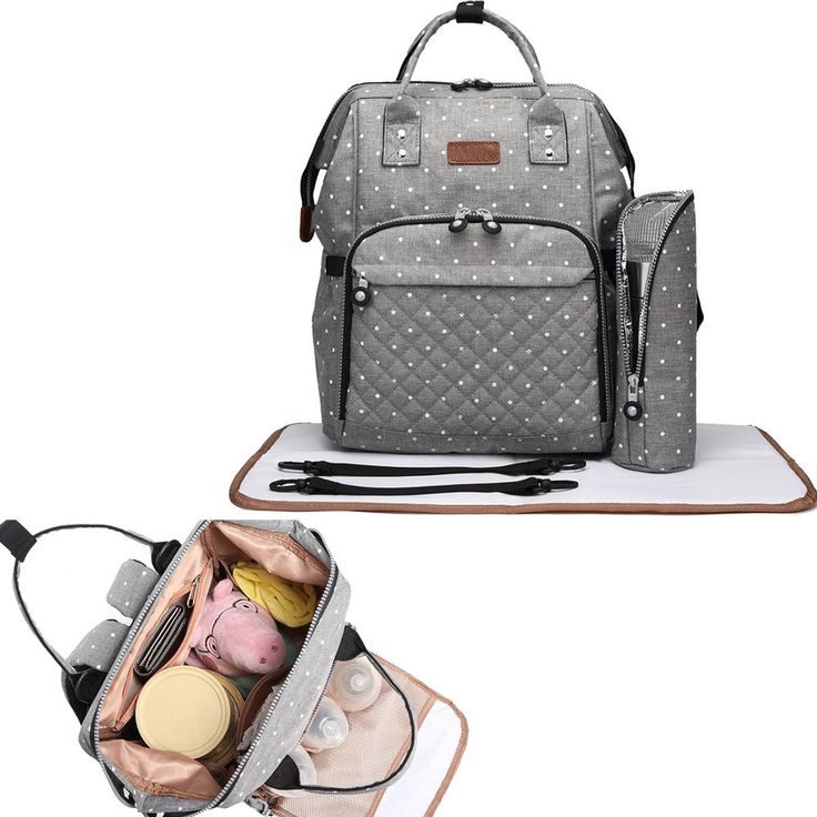 Grey Dot 4 Piece Wide Open Backpack Set Maternity Baby Changing Bag/Mat Womens | Baby, Baby Changing & Nappies, Nappy Changing Bags | eBay!