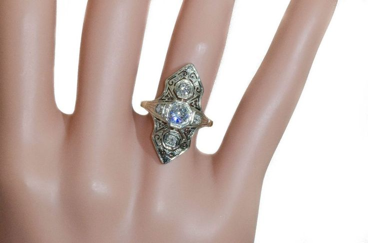 18K WHITE GOLD ANTIQUE ART DECO DIAMOND RING SIZE 5 0.90CTTW  #Handmade #Antique