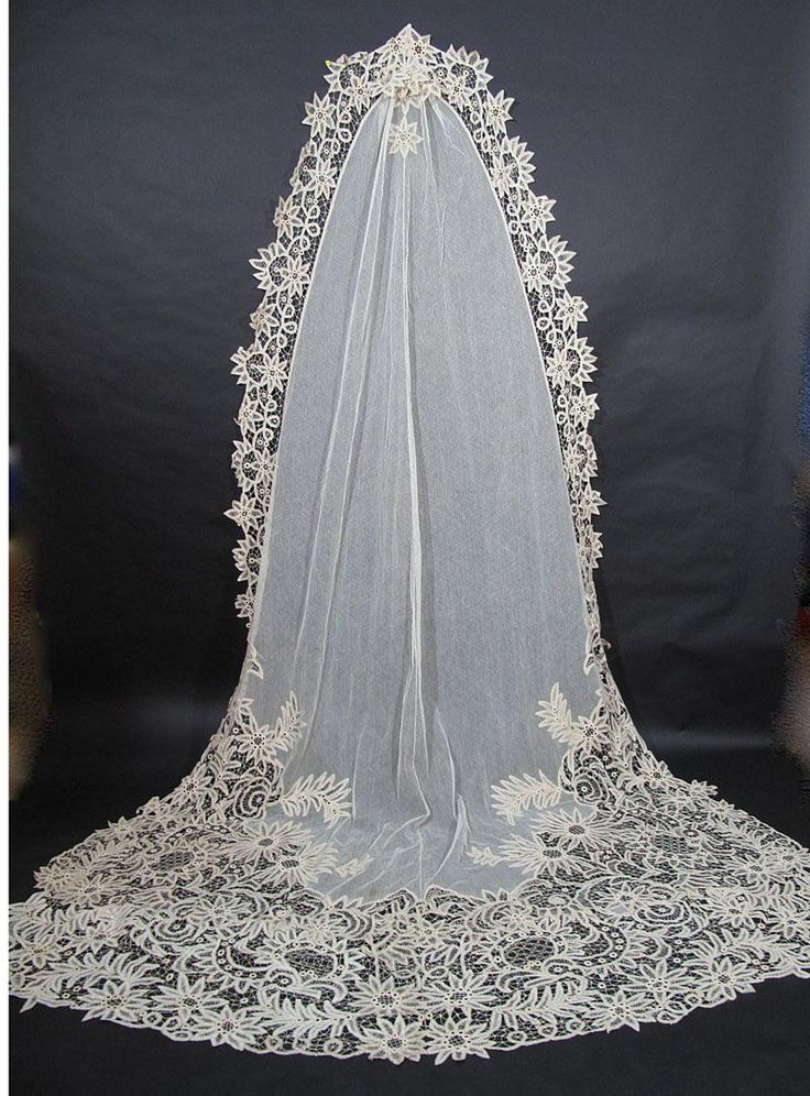 Circa 1900s Battenberg Lace Cathedral Length Bridal Veil