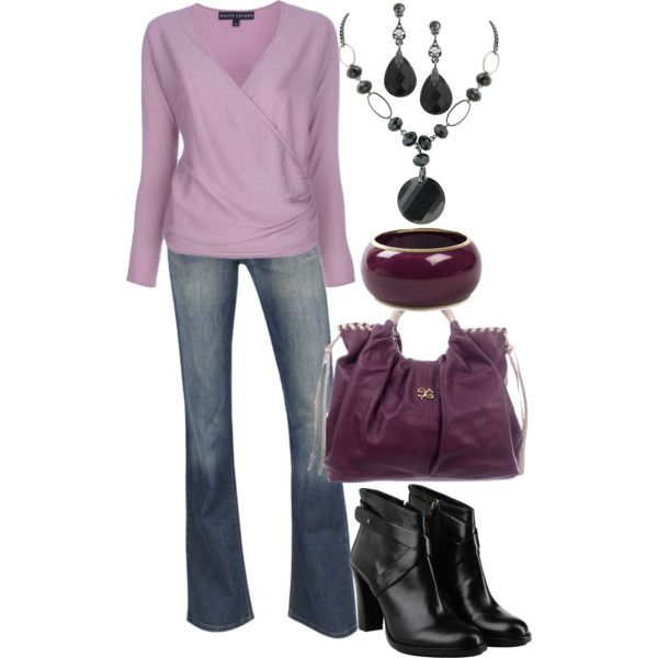 OutfitSimple Outfit, Shades Of Purple, Purple Pleasure, Thw Boots, Cute Outfits, Untitled 258, Purple Haze, Jeans Flare, Outfit Lov Thw