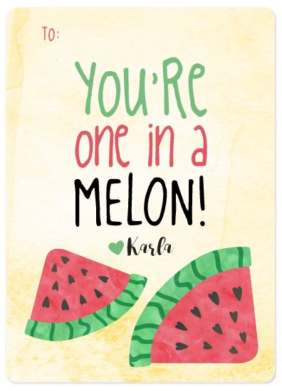 One In A Melon! by Kelcy Parrish #vote #design #valentines #greetingcard #card #holidaycard #watermelon #pun #illustration #graphicdesign
