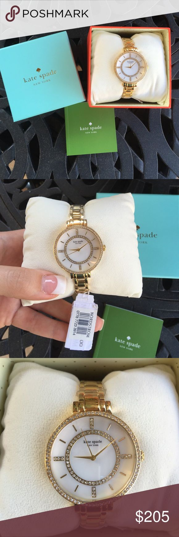 Kate Spade Pave Gramercy Watch Brand new with tags! Stainless steel gold case with a stainless steel gold bracelet. Fixed gold-tone bezel set with crystals. Mother of pearl dial with silver-tone hands and crystal index hour markers. The Kate Spade logo marks the 12 o'clock position. Purchased from Nordstrom and comes with box, Kate spade watch pillow, and authenticity booklet. No trades. No PayPal. kate spade Accessories Watches