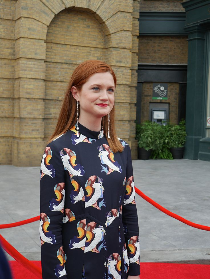Bonnie Wright on the red carpet at The Wizarding World of Harry Potter - #DiagonAlleyPreview.  Diagon Alley opens July 8th!