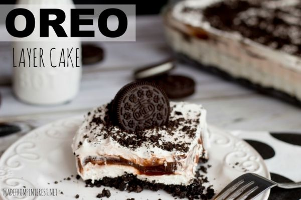 Unbelievable Oreo Layer Cake Recipe YUMM!     Recipe type: Dessert Cuisine: American Ingredients 1 pkg of regular Oreos ½ c. of butter 1 lg box of instant chocolate pudding 2-8 oz carton cool whip 8 oz. of cream cheese, softened 1 c. powdered sugar Instructions In a food processor or blender, blend the entire package of Oreo's until f