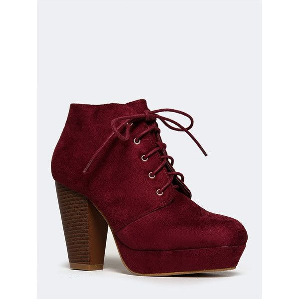 MarBel Goldie-21 Bootie ($35) ❤ liked on Polyvore featuring shoes, boots, ankle booties, ankle boots, lace up platform booties, lace up ankle boots, faux leather booties and laced up ankle boots