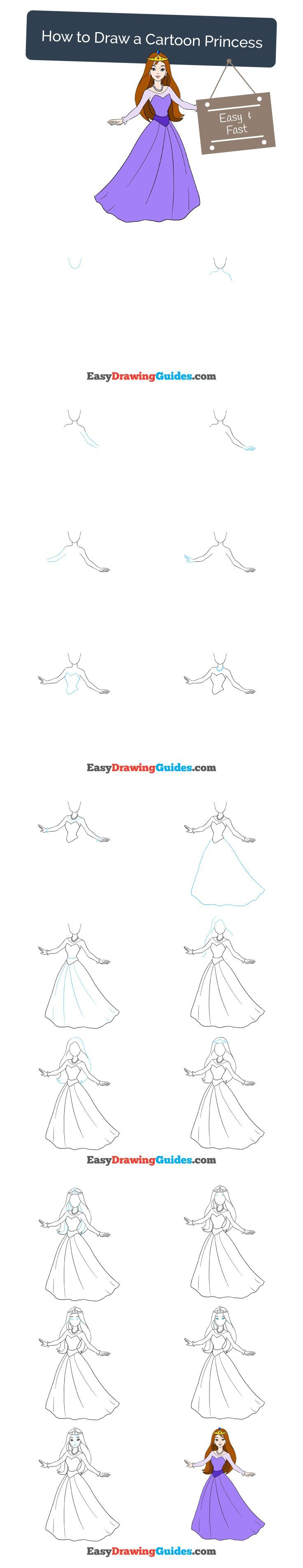 how to draw a princess step by step easy