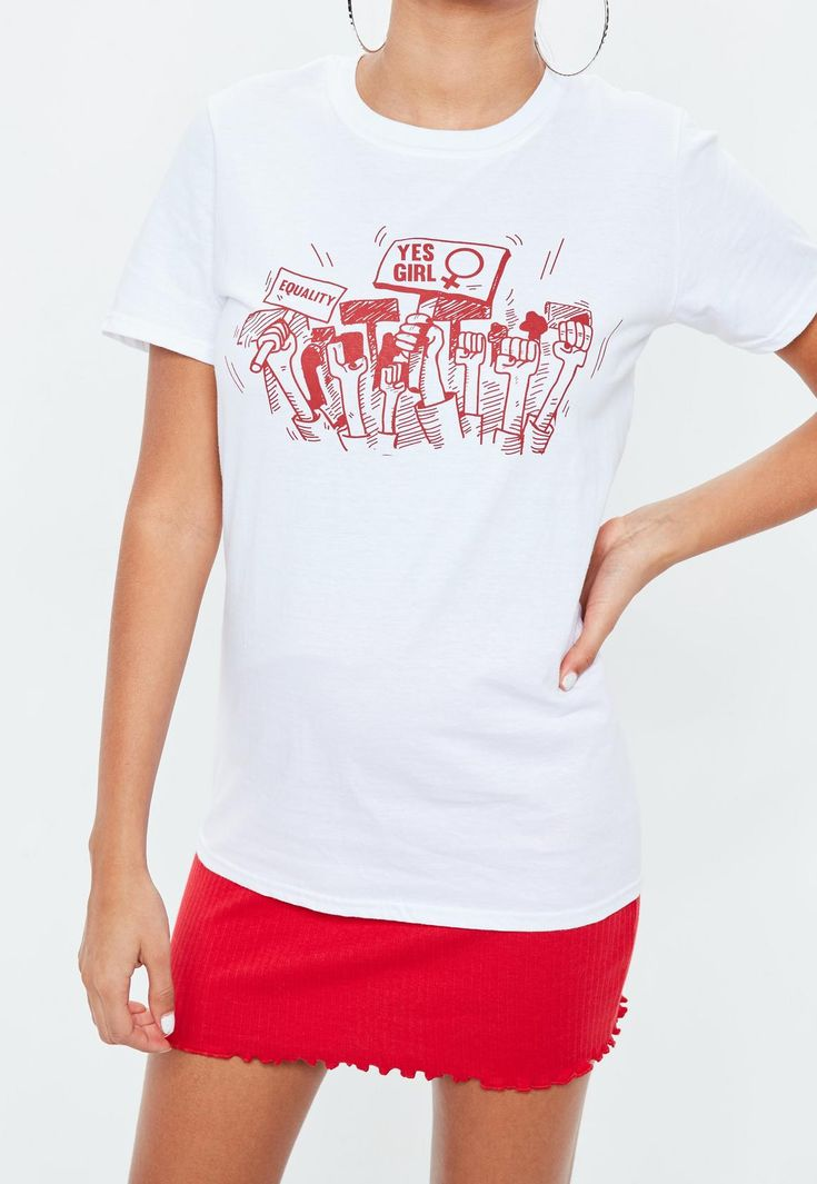 Missguided - White Graphic Protest T-shirt