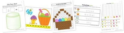 Easter Symbols Kindergarten Extension Pack! (Includes Jelly Bean Add/Sub, 100 Chart Art, Tracing Strips, Skip Counting Puzzles, Graphing)