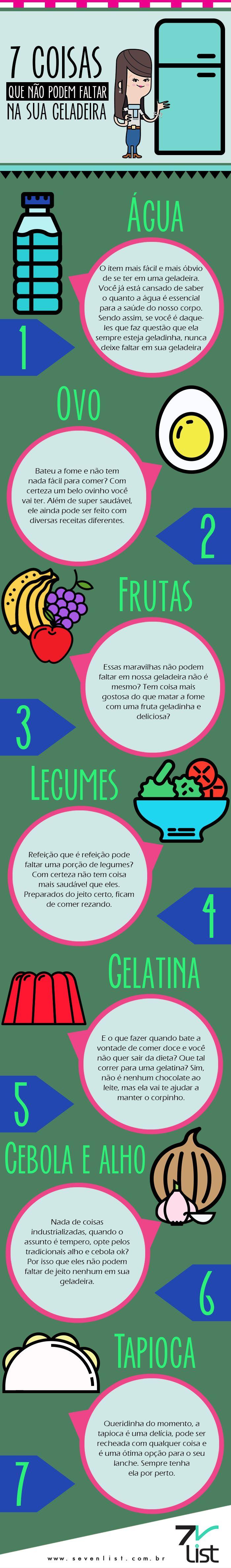Ela é nossa aliada ou inimiga quando o assunto é alimentação saudável, o que tem na nossa geladeira é  de extrema importância na hora de manter a dieta. Veja a lista que nós do Seven List preparamos com 7 coisas que não pode faltar em sua geladeira. #SevenList #Art #Infográfico #Fit #Fitness #Alimentação #Lifestyle #Dieta #Diet #Food