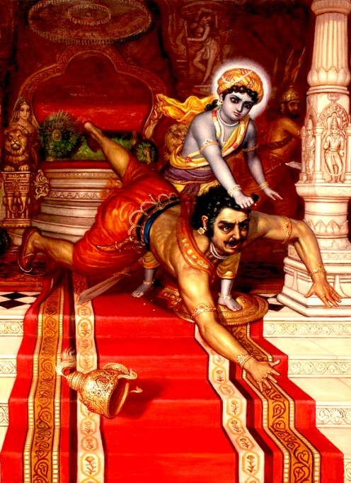 Krishna leapt on Kamsa and knocked him down. Kneeling on Kamsa's chest, Krishna strangled him and killed him with his bare hands.