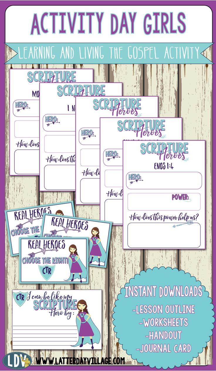 Book of Mormon Scriptures Heroes. ACTIVITY DAY GIRLS! Everything you need for this adorable lesson. #activitydays #primary #scriptureheroes #bookofmormon