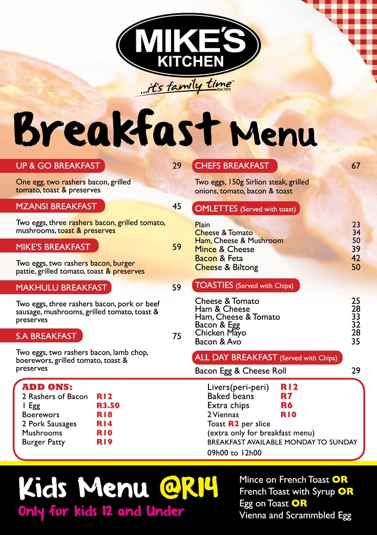 Mikes Kitchen Milnerton Breakfast Menu