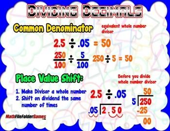 Dividing Decimals (Using Common Denominator Place Value) = Poster/Anchor Chart A Poster/anchor chart to put on your Math Vocabulary board to use as a reference. Along with cards to use as bookmarks for a quick reference.BONUS: 24inch x 36inch (poster size) JPEG file included, so you can get the actual poster printed.