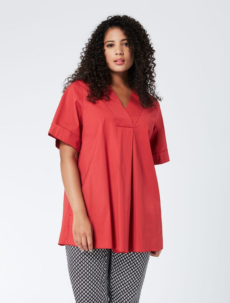 Marina Rinaldi BOEMIA bordeaux: Wide-cut blouse in stretch poplin.