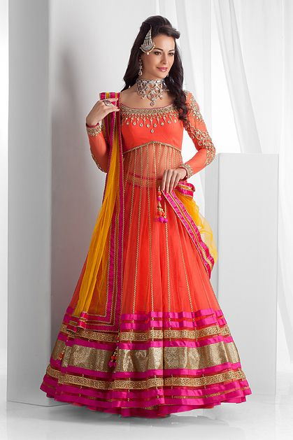 W14-44 - Net long jacket, ghagra and dupatta embellished with stones and lace