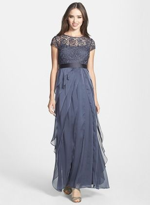 Solid Sleeveless Maxi Elegant Lace Sashes Ruffles Dresses (1955103367)