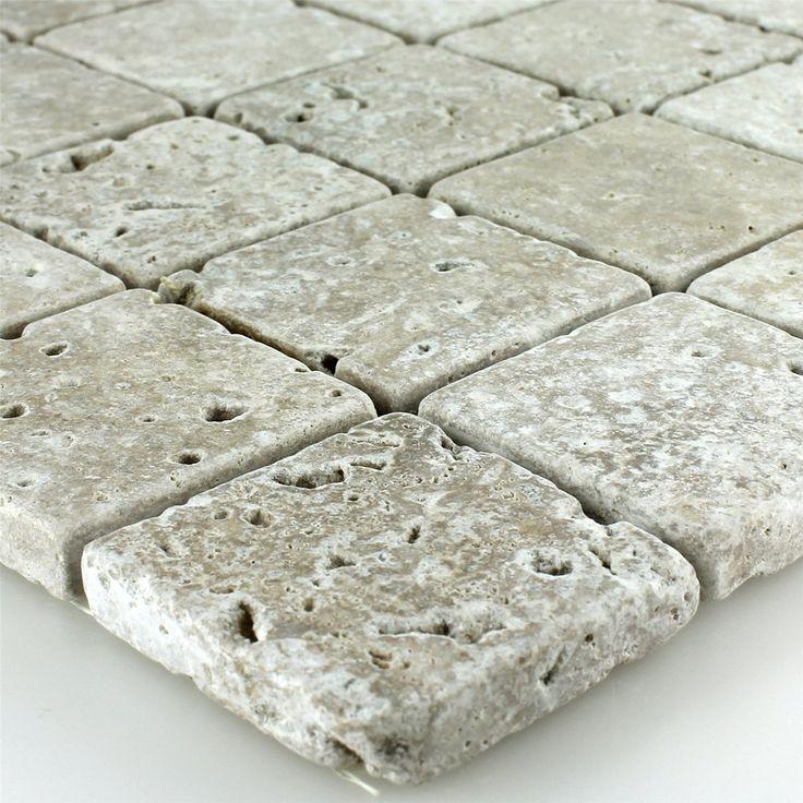 Travertin Mosaik Fliesen Noce Getrommelt 48x48x10mm