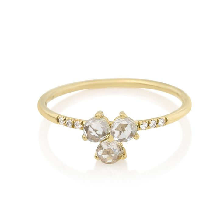 Jennie Kwon Diamond Triad Ring 14k Gold White Diamond