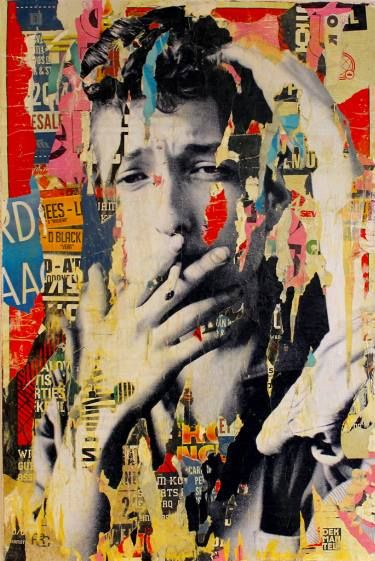 "Saatchi Art Artist Michiel Folkers; Collage, ""Bob Dylan"" #art"