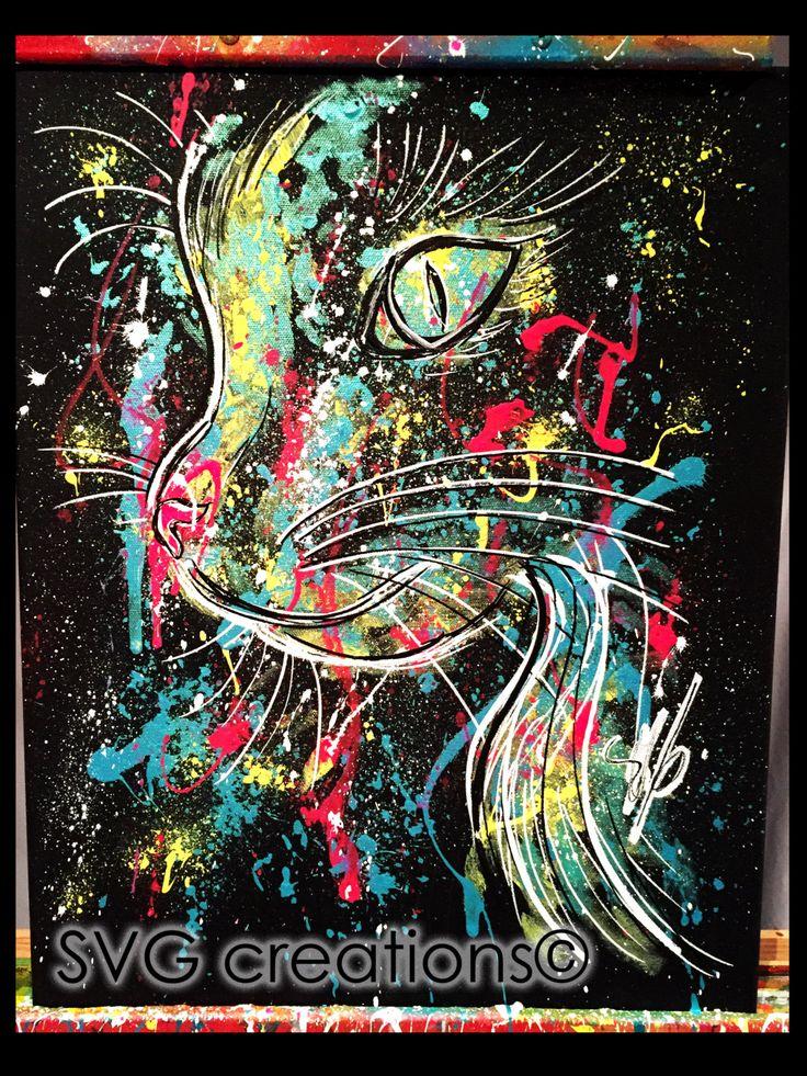 Chat abstrait sur toile noire à l'acrylique 16 x 20 / Abstract cat on black canvas by acrylic 16 x 20 de la boutique SVGCreations13 sur Etsy