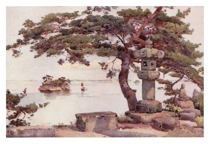 """Out of all the book plate prints recovered from """"The Flowers and Gardens of Japan"""", """"Pine Tree at Matsushima"""" by Ella Du Cane is quite simply my favourite. The graceful majesty of the ancient pine tree is carefully located where the view over a lake is beautifully framed. A wonderful image."""