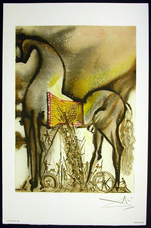 The Dalinean Horses by Salvador DALI : Lithograph titled : The Trojan  Horse. We also propose for sale a large choice of original works of Art and  ...