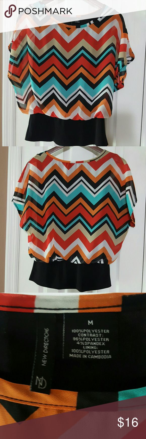 🌻SALE🌻 Directions Chevron Blouse 🌻WEEKEND SALE🌻 This multi color chevron blouse is in excellent condition. It has an attached torso lining and fitted stretchy band at waist. Very comfy and  extremely versatile can be dressed up or down. new directions Tops Blouses