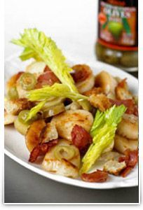 Tossed Warm Scallop, Bacon and new Potato salad with Olives
