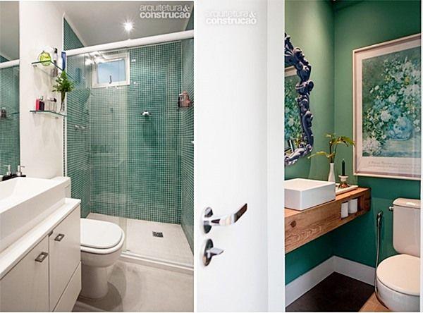 Se vc tem dúvidas com as cores que vai usar no seu banheiro ou lavabo, pode folhear as revistas (ou ver os sites) de decoração por aí e vai ver em geral fotos como estas...