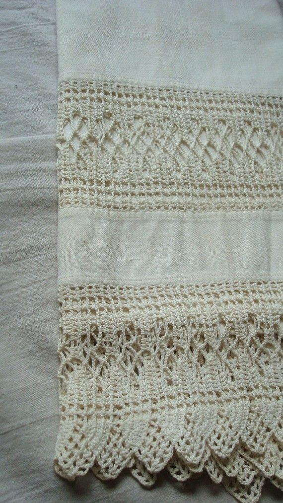 a just right linen towel for your farmhouse kitchen or bath...white cotton, hangs 62 inches and is 18.5 wide. Lovely cotton lace border on