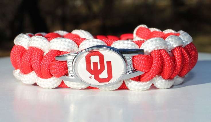 University of Oklahoma OU Sooner 550 Paracord Survival Strap Bracelet Anklet with Buckle- gotta get one of these!!