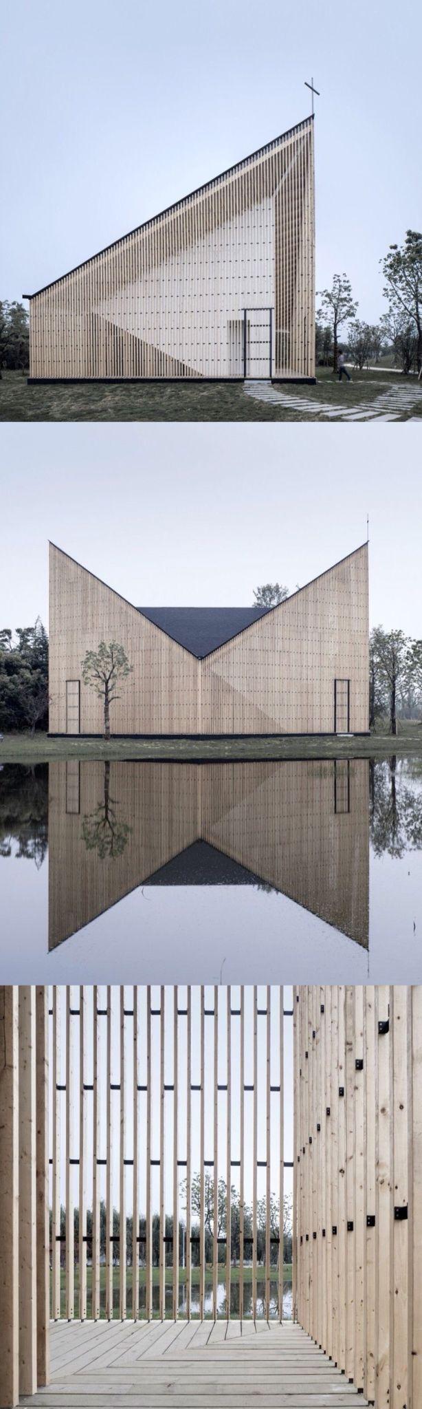 Un bâtiment en bois audacieux avec un toit papillon #audacedubois