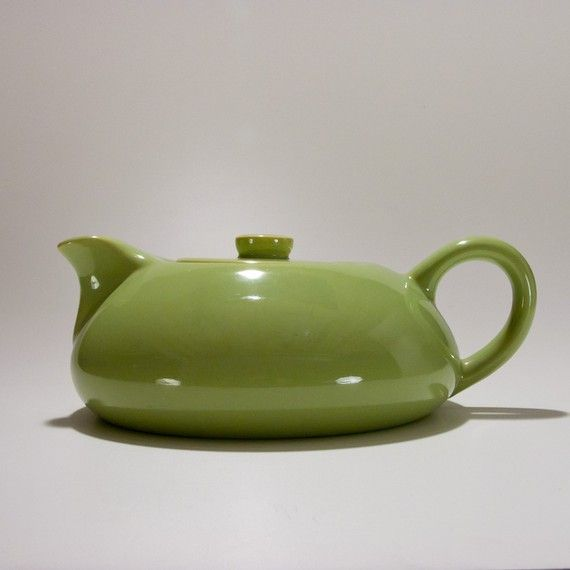 Green Mid Century Modern Tea Pot